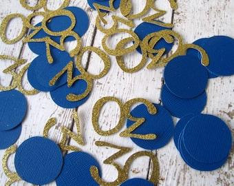 Number and Circle Confetti 50 CT - 30th Birthday Decor - Blue and Gold Party Decor - Table Confetti - Number Confetti - Glitter Confetti