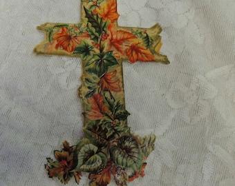 Large Die Cut Cross, Paper Ephemera, Vintage Ephemera, Vintage Die Cut, Foliage Covered Cross, Religious Die Cut - REDuCED