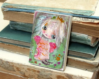 Woodblock butterfly girl ACEO