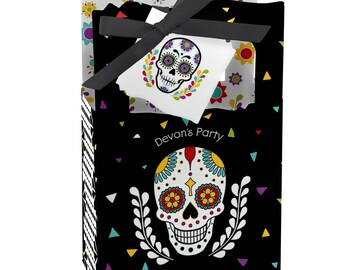Day Of The Dead - Favor Boxes - Personalized Halloween Sugar Skulls Party Supplies - Dia de los Muertos Party Treat Boxes - 12 ct.