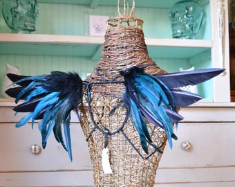 Feather Wings Black and Turquoise Made to Order