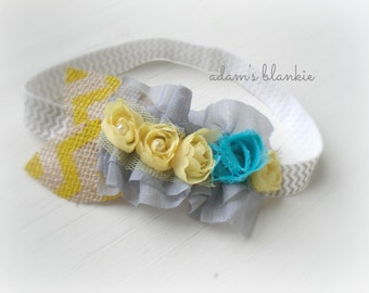 Cloudy with a Chance of Rain III - Ruffled Rosette Headband - Lace Pearls Burlap - Gray Yellow Turquoise - Girls Newborns Baby Infant Adults