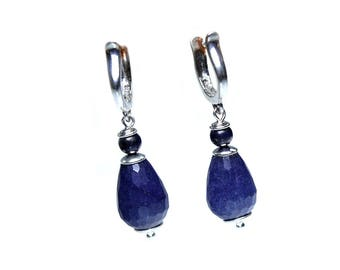 Earrings Blue Jeans – Sterling silver, Blue Jade and Lapis Lazuli 608