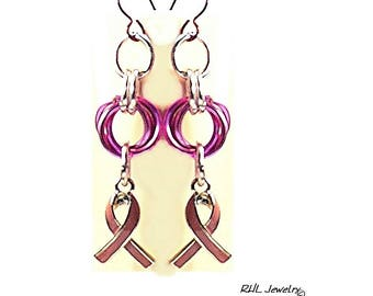 Pink Ribbon Earrings, Niobium Ear Wires, Chainmaille Earrings - E2017-09