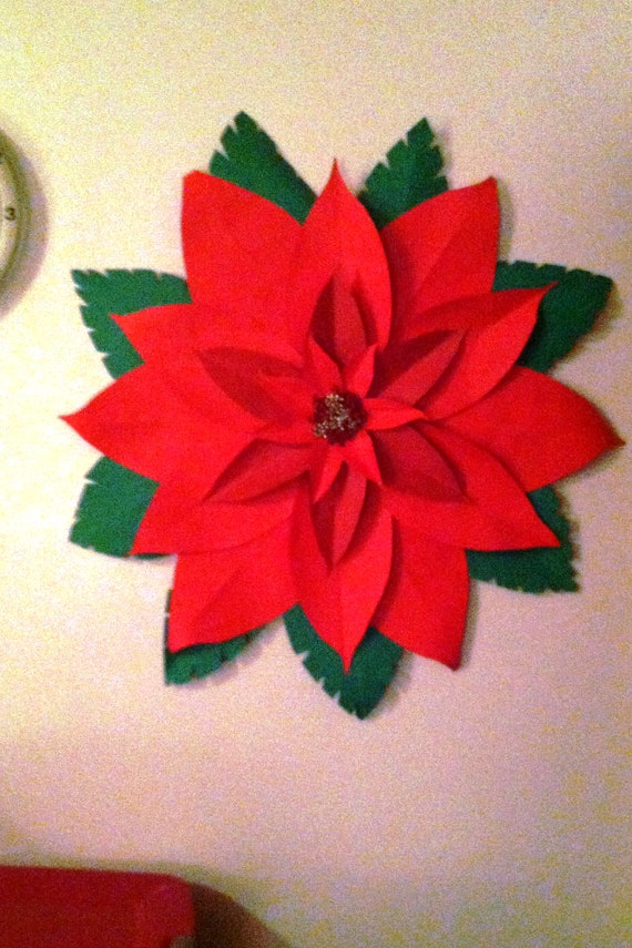 Paper poinsettia wall art or door hanging 24 inch like this item mightylinksfo