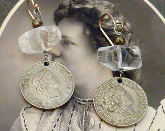 SWITZERLAND HELVETICA COIN  vintage antique  coin assemblage earrings