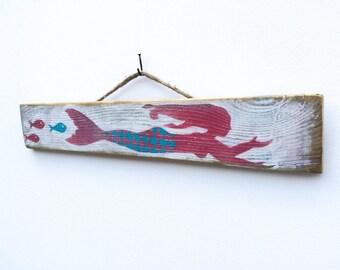 Personalize This Original Art Item Mermaid Art Handmade on Reclaimed Wood Mermaid Beach Baby Mermaid Wall Art Mangoseed