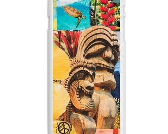 iPhone 6s/6, iPhone 6s/6 Plus Case, TIKI TURTLE, Hawaii, Beach, iPhone 6s, Tropical, Aloha, Collage, Avail. with Black or White case color