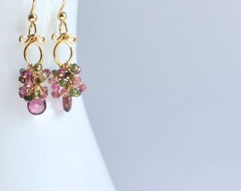 Magdalena - Tourmalines, 14k Gold Filled Petite Earrings || Colorful Earrings || Small Dangles || Tourmaline Dangles