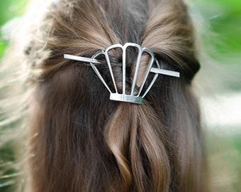 Hair barrette,  hair accessories, pony tail cover, textured aluminium