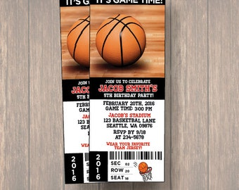 12 PER PACK Birthday Party Invitations, Basket ball Birthday Ticket, Birthday Invitation, Basket Ball Ticket