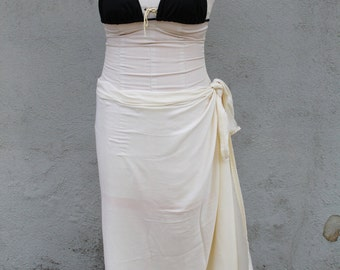 Ivory/Creme off white color-Pareo-solid color-full and half sized-rayon- sarong, pareau-Tan