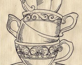 Sketchy Teacups Embroidered Flour Sack Hand/Dish Towel