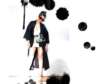 Black 100% silk kimono with 5 crest.