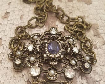 Brooch necklace/assemblage jewelry/assemblage necklace/Vintage assemblage necklace/Fortheloveofjunkco