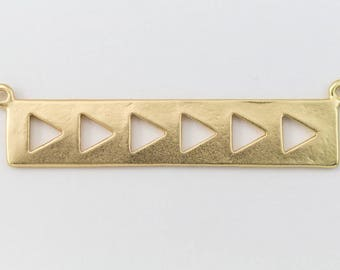 39mm Matte Gold Rectangle with Triangles Connector #MFA184