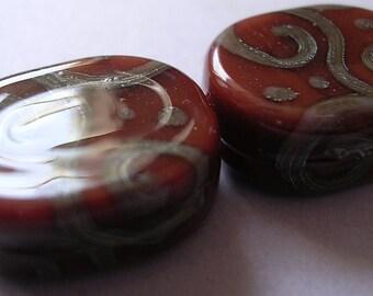 Lampwork Glass Red Beads Handmade Carnelian Oval Tabs Ericabeads (2)
