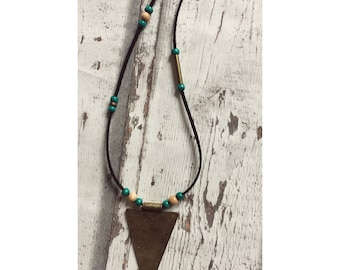 Boho Beaded leather necklace with ornament