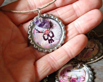 Skull Necklace, Boho Bull Skull Necklace, Bottle Cap Jewelry, Upcycled Bottle Cap Necklace, Repurposed Jewelry, Recycled Necklace, Boho