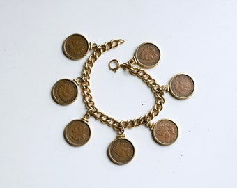 Vintage Indian head pennies charm bracelet / 1940s gold fill coin bracelet / 1907 penny coins bracelet / 40s antique gold and copper charms