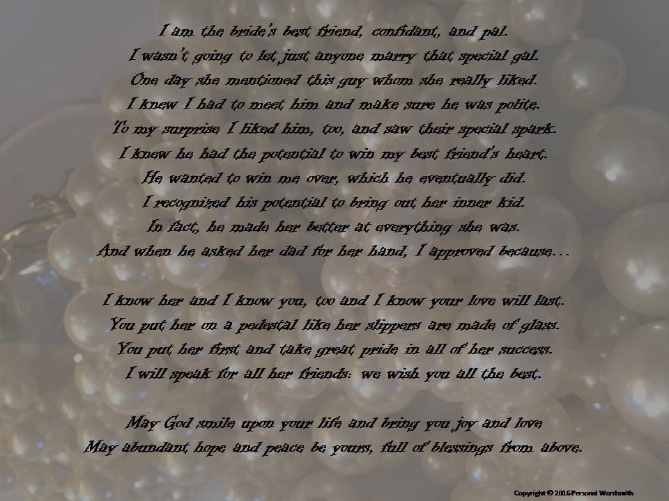 Maid Of Honor Speech Print Brides Best Friend Toast