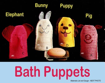 Puppet Bath Mitt Patterns Elephant Bunny Puppy Dog Pig Crochet Pattern  PDF PUP101