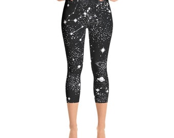 Galaxy Capri Leggings | Printed Leggings | Festival Leggings | Rave Leggings | Space Leggings | Workout Leggings | Pilates Leggings