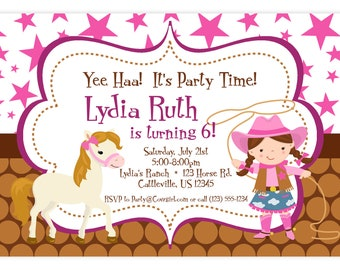 Cowgirl Invitation - Pink Stars and Brown Polka Dot Girl Cowgirl and Horse Personalized Birthday Party Invite - a Digital Printable File