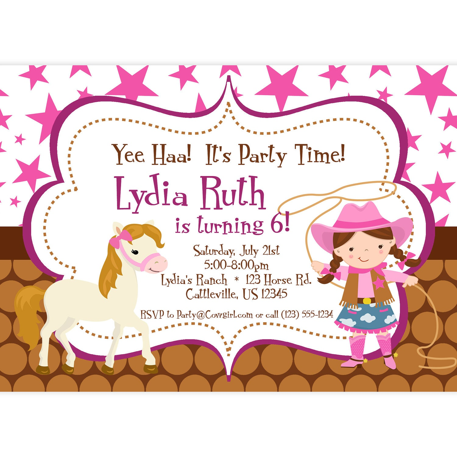 Cowgirl Invitation Pink Stars and Brown Polka Dot Girl