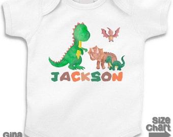 Personalized Dinosaur Baby Bodysuit T-shirt Shirt Infant Boy Girl Kids Children Dinosaur Birthday T-Rex Stegosaurus Brontosaurus Triceratops