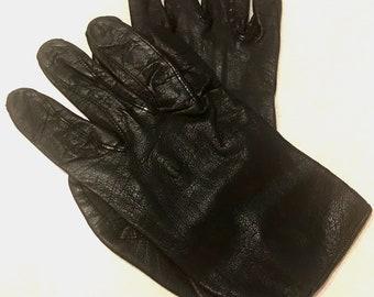 Vintage Black Soft Leather Gloves