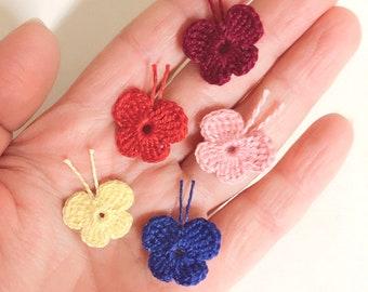 Tiny size crochet butterfly/Crochet insect/Multicolor butterfly/Crochet applique/Butterfly small patch/Tiny ornament/Clothing decoration