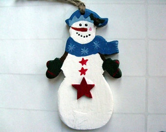 Snowman and Star Ornament - wood snowman & blue scarf, blue hat, green mittens, red stars