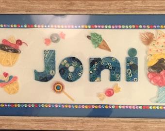 Bespoke Quilled Paper Name Frame Kid's Bedroom Children's Room Nursery