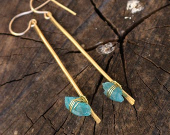 hammered brass bar gold filled earrings wire wrapped with rough apatite minimalist jewelry