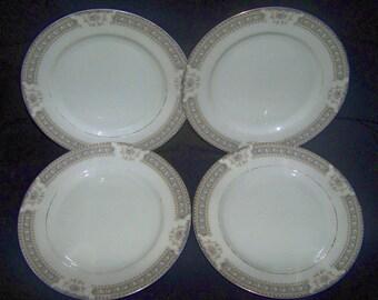 4 Mikasa Ivory China M2002 Richelieu Salad Plates Gray Band Pink Roses