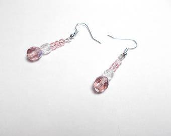 Purple Bohemian crystal, pink glass earrings