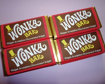 Wonka Bar wrappers printed Wonka Bar label printing Wonka Bar candy favors Willy Wonka birthday party Charlie and the Chocolate Factory