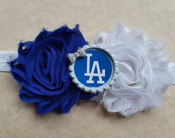 LA Dodgers headband!  Shabby chic - baby girls toddler teen adult