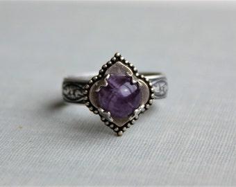 Amethyst Ring. Quatrefoil Ring. Adjustable