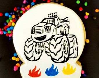 12 monster truck Paint your own monster truck cookies