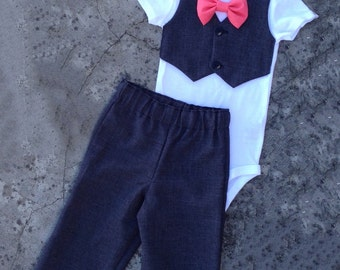 Baby boy clothes, baby boy wedding outfit, Gray suit vest onesie coral bowtie, baby boy suit pants, infant boy clothes, dressy church outfit