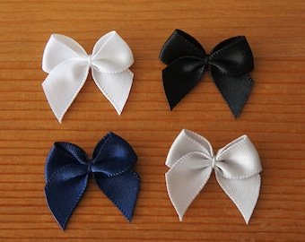 Small Ribbon Bow Embellishment 25mm White Royal Blue Black Grey Cold Colors Cool Magical Girl Lolita Fashion Cosplay Sewing Craft DIY
