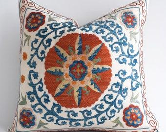 SALE Suzani pillow suzani pillow cover blue green beige red suzani pillow suzani pillows designer pillow throw pillows sofa pillow sham