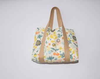 Tote bag fabric thick printed floral, burlap handles