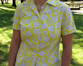 Crisp Vintage Yellow Western Shirt Short Sleeves Pearlized Snap Front 1970s