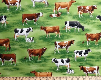 Down on the Farm Animals Cows Green Grass Robert Kaufman #6281 By the Yard
