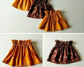 Baby Girl Skirt with Rabbits Yellow Brown size - 12-18mths