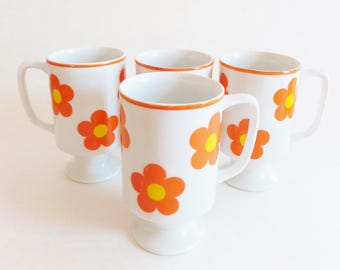 Retro Ceramic Footed Mugs - Mid Century Irish Coffee Cups - Set of 4 - Orange and Yellow Flower Power - 1960s