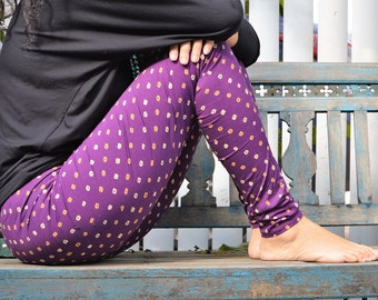 Purple Leggings, Tights, Womens Tights, Printed Tights, Cotton Tights, Womens Leggings, Printed Leggings, Yoga Leggings, Yoga Tights